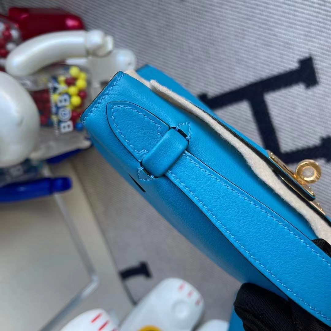 Canada Hermes MiniKelly Pochette Swift 0F Bleu frida 弗裏達藍