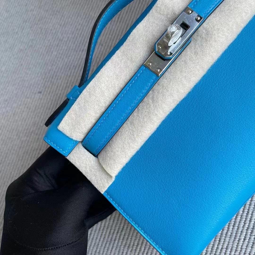 Bahrain Hermes MiniKelly Pochette Swift 0F Bleu frida 弗裏達藍 银扣