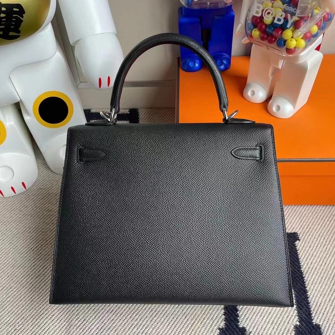 愛馬仕外縫凱莉包 Hermès Kelly 25cm 89 Noir 黑色 Epsom 原廠禦用掌紋牛皮 银扣