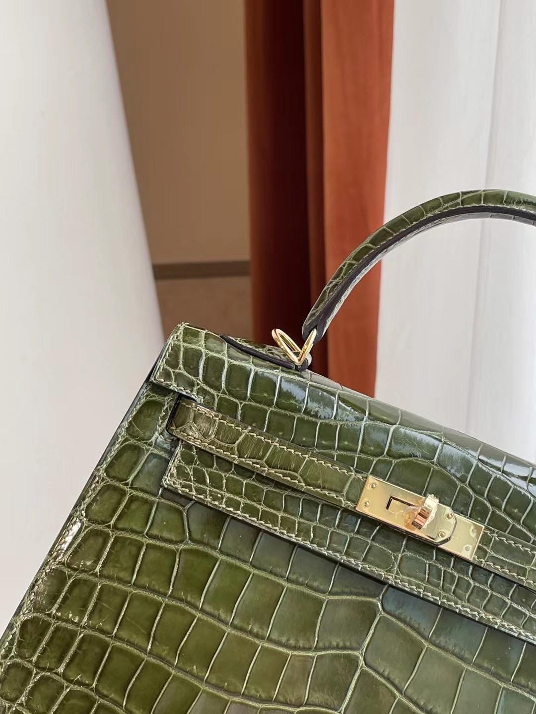 Hermes kelly 25cm 6H Olive green 橄欖綠 亮面兩點 尼羅鱷魚
