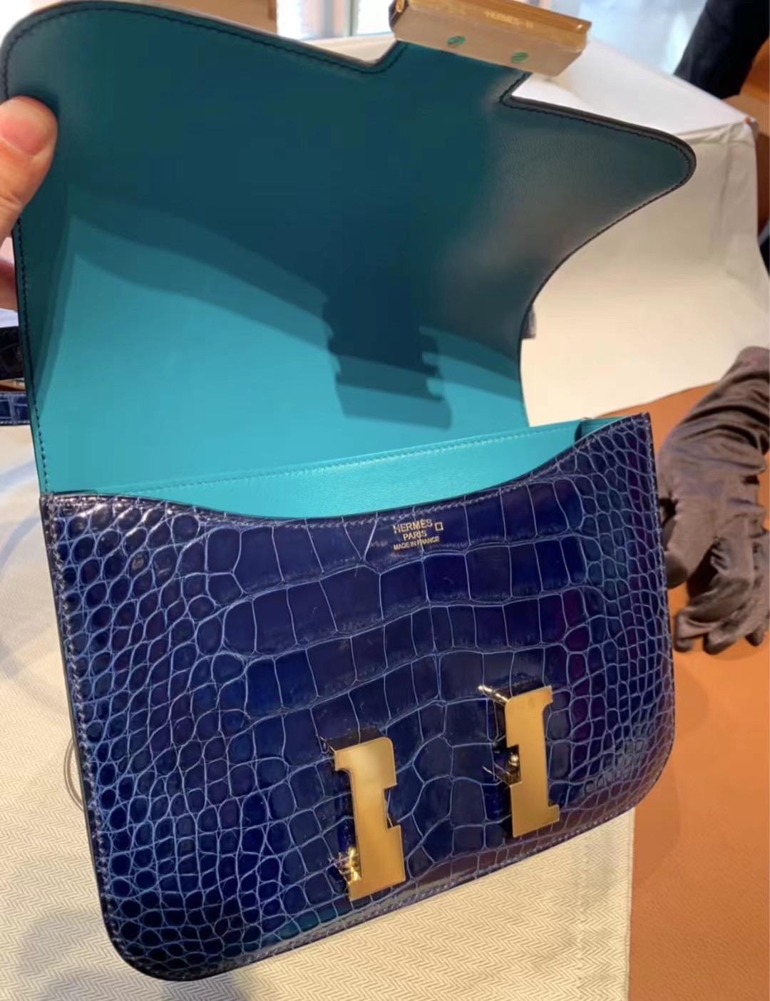 Hermes Constance 19 美洲鱷魚 73 Blue Sapphire 寶石藍 7F Blue Paon 孔雀藍