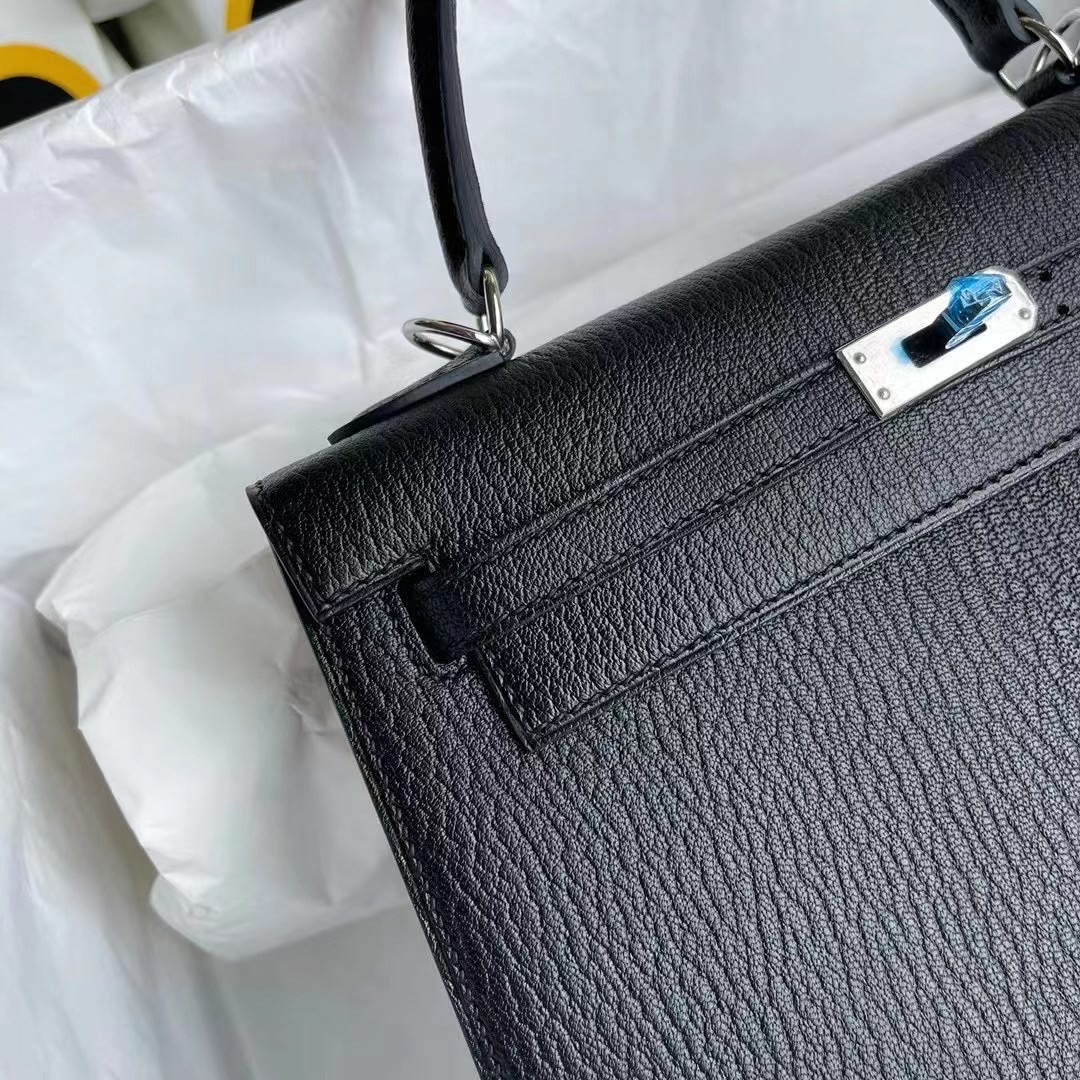 Saudi Arabia Hermes Kelly 25cm Chevre Mysore CK89 Noir 黑色 銀扣