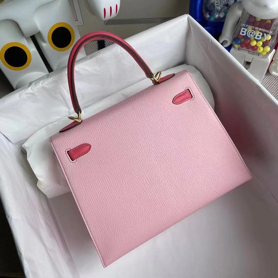 Dhabi Hermes Kelly 25 Chevre 3Q Rose Sakura U5 Rose Lipstick 唇膏粉 磨砂金扣