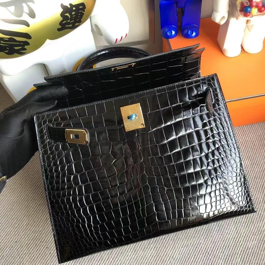 愛馬仕2021年新刻印 Z刻 Dubai Hermes Kelly 28 Porosus Crocodile 89 黑色 Noir