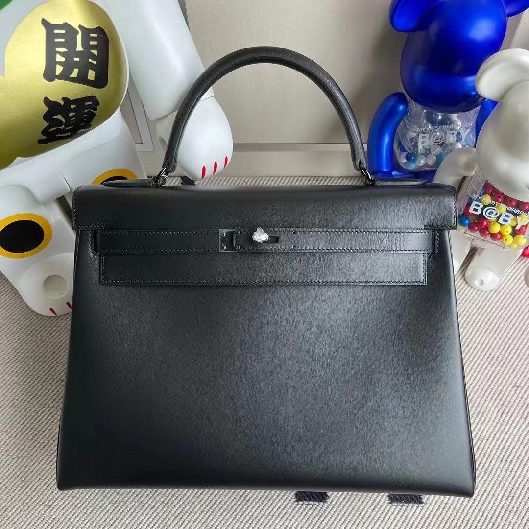 Dhabi Hermes Kelly 32cm SO Black Box Retourne Black Hardware CK89 Noir