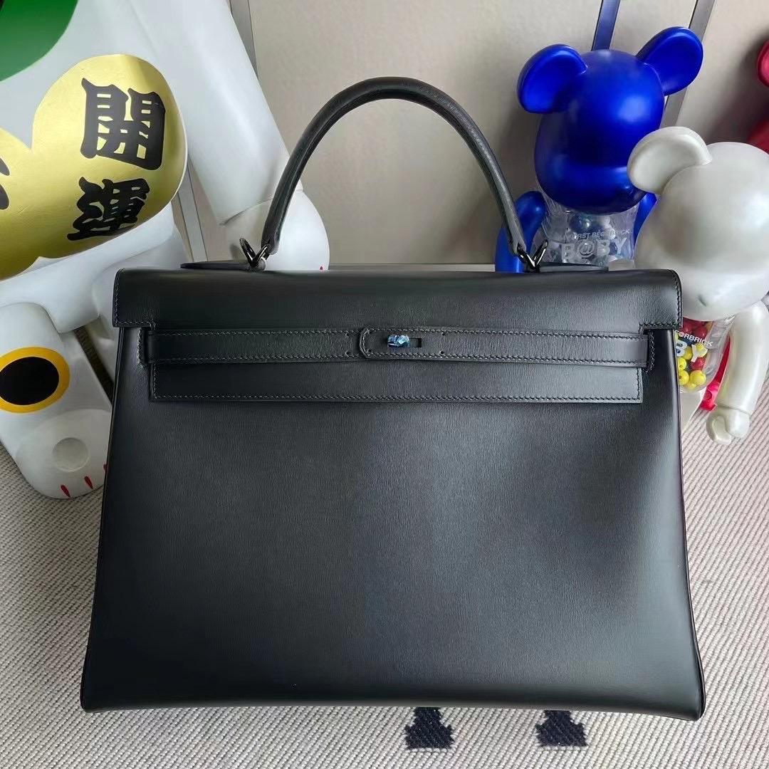 Hermes Kelly 35cm SO Black Box Retourne Black Hardware 黑色 黑扣