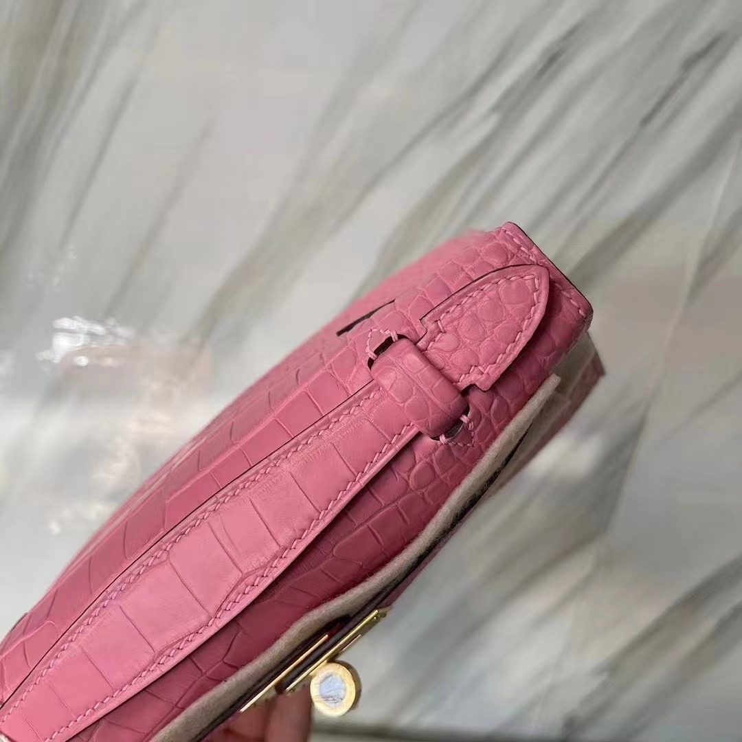 Hermes MiniKelly Pochette 霧面美洲鱷魚 5P bubblegum pink 櫻花粉 金扣