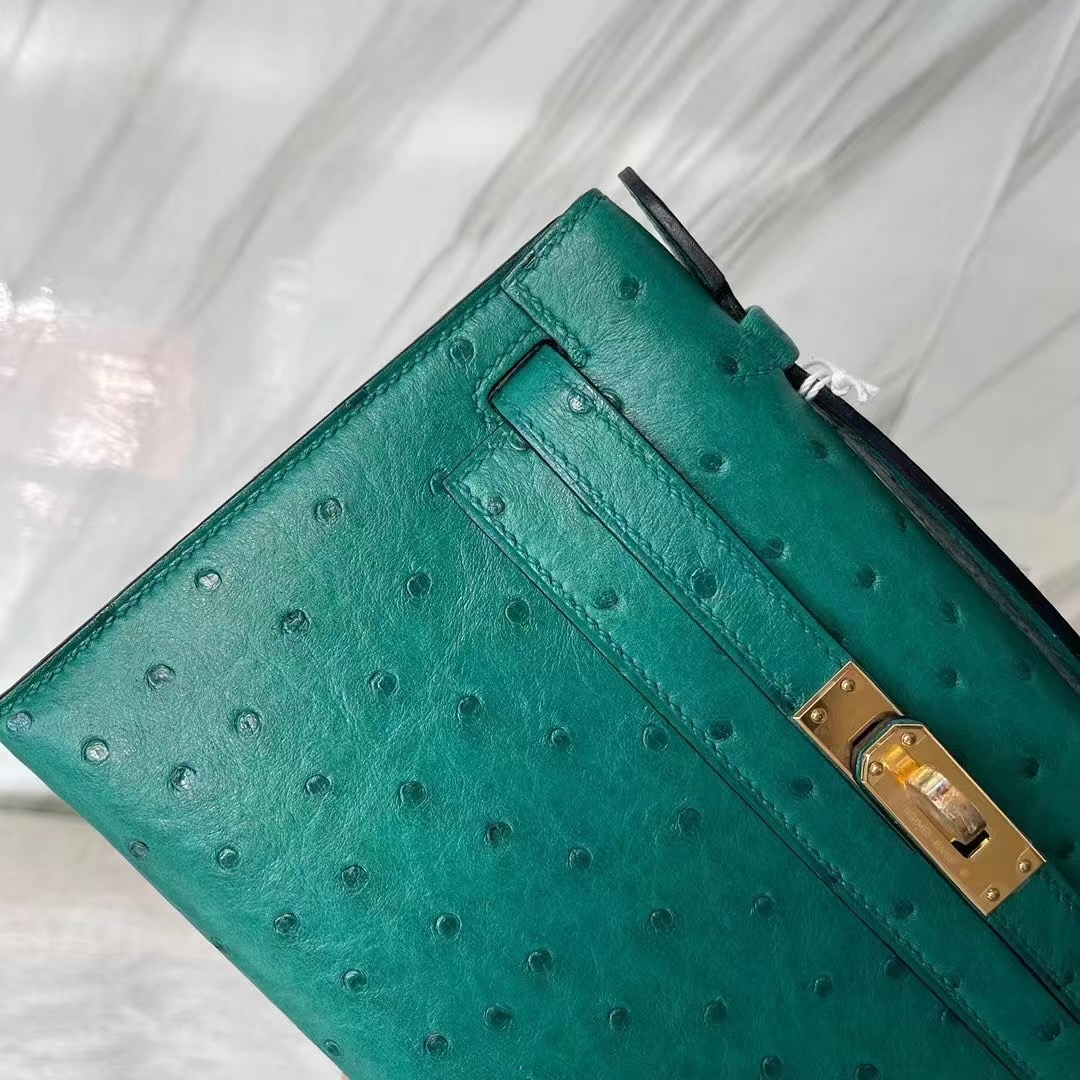Hermes MiniKelly Pochette Ostrich 鴕鳥皮 Z6 孔雀綠 Malachite 金扣