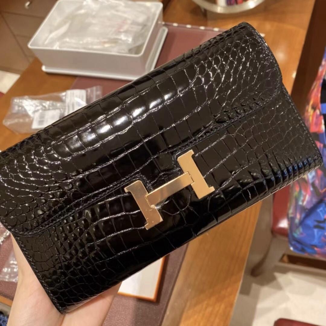 Hermes Constance long wallet 89 Noir 長款 錢包 alligator