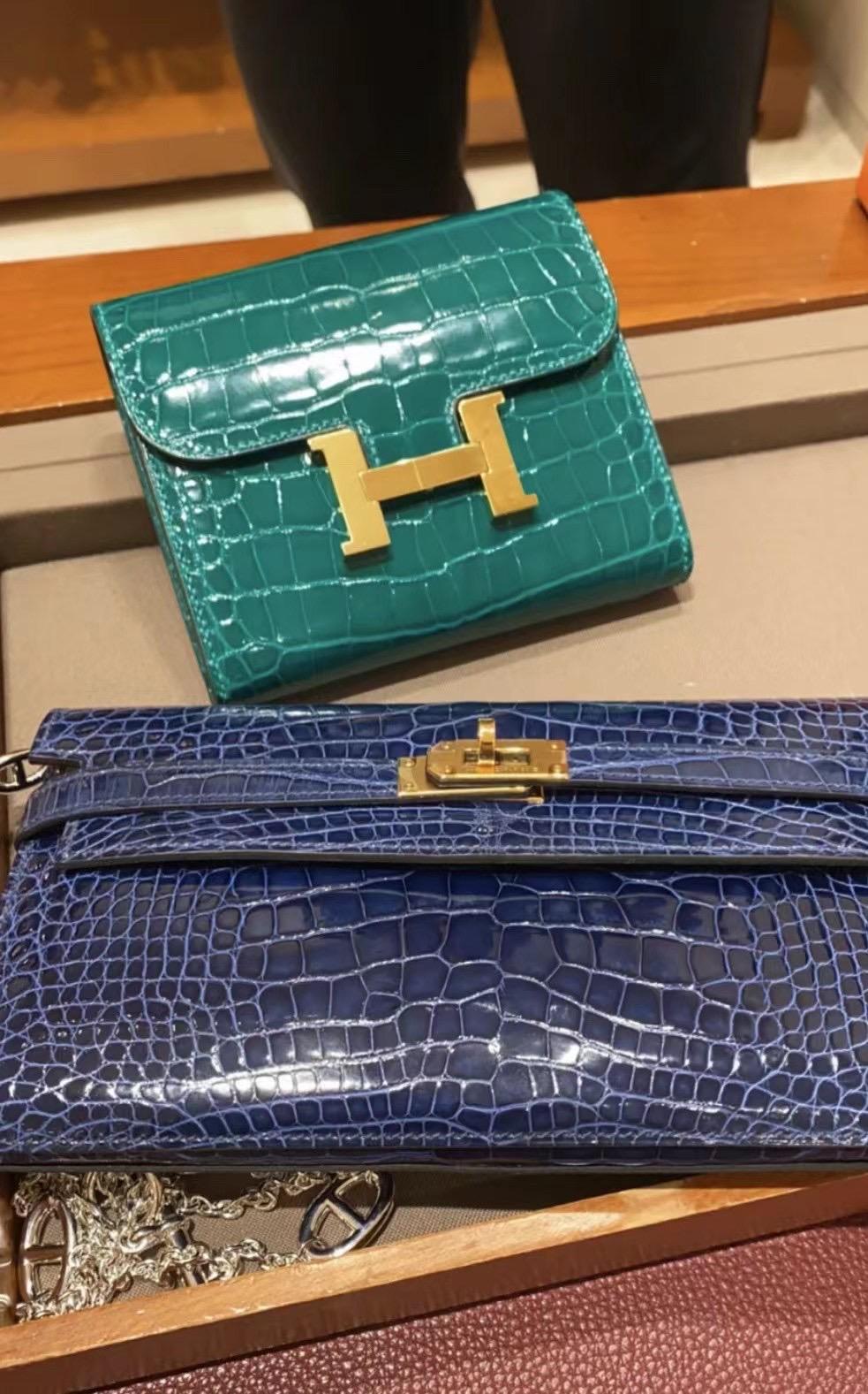 Hermes Portafoglio Kelly Classique alligatore Mississippiensis liscio 长款钱包