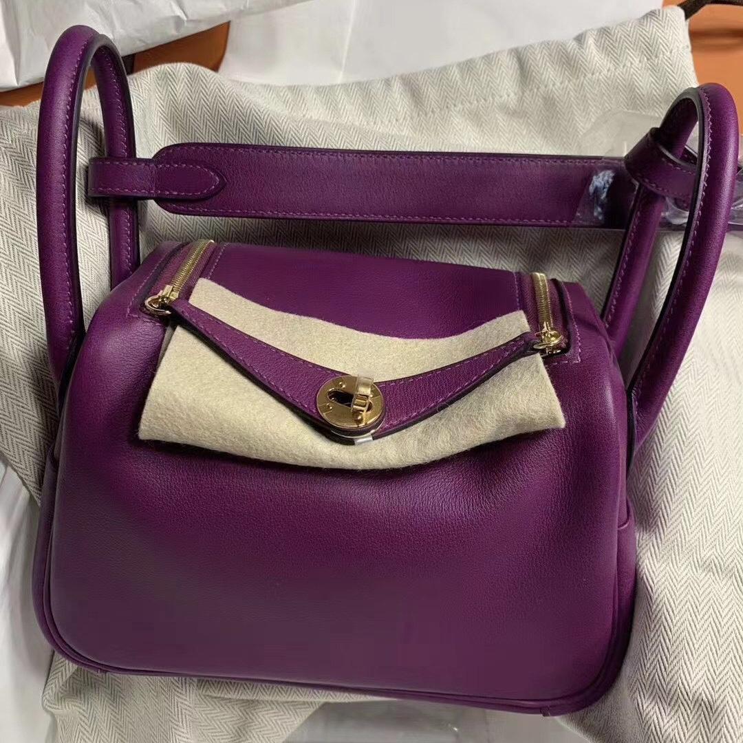 愛馬仕迷你琳迪包價格 Hermes Lindy Mini Swift P9 Anemone 海葵紫