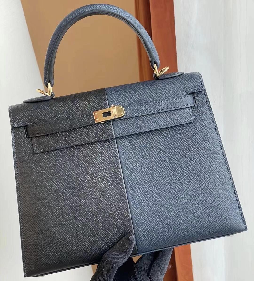 愛馬仕凱莉包專櫃價格 Hermes Kelly 25 三拼色 Epsom 76 Bleu Indigo 拼 89 Noir 黑色