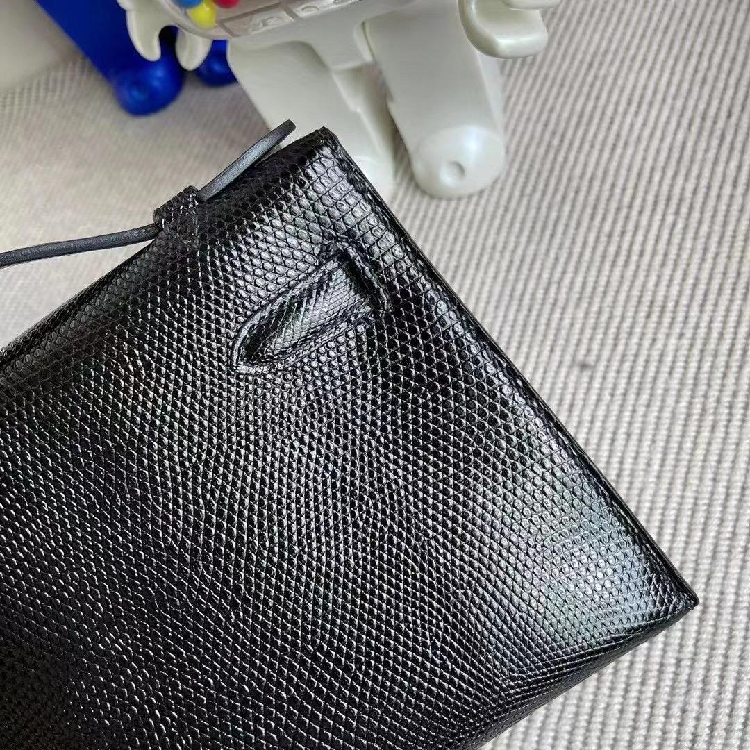 澳門 Macao Hermes MiniKelly Pochette Lizard 蜥蜴皮 CK89 Noir 黑色 金扣