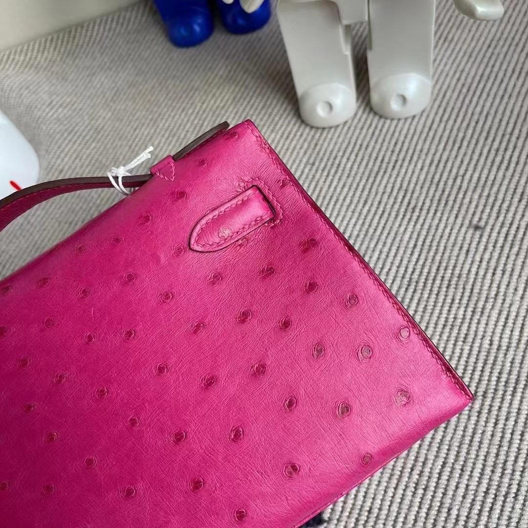 澳門 Macao Hermes MiniKelly Pochette Ostrich L3 Rose Poupre 玫瑰紫 銀扣