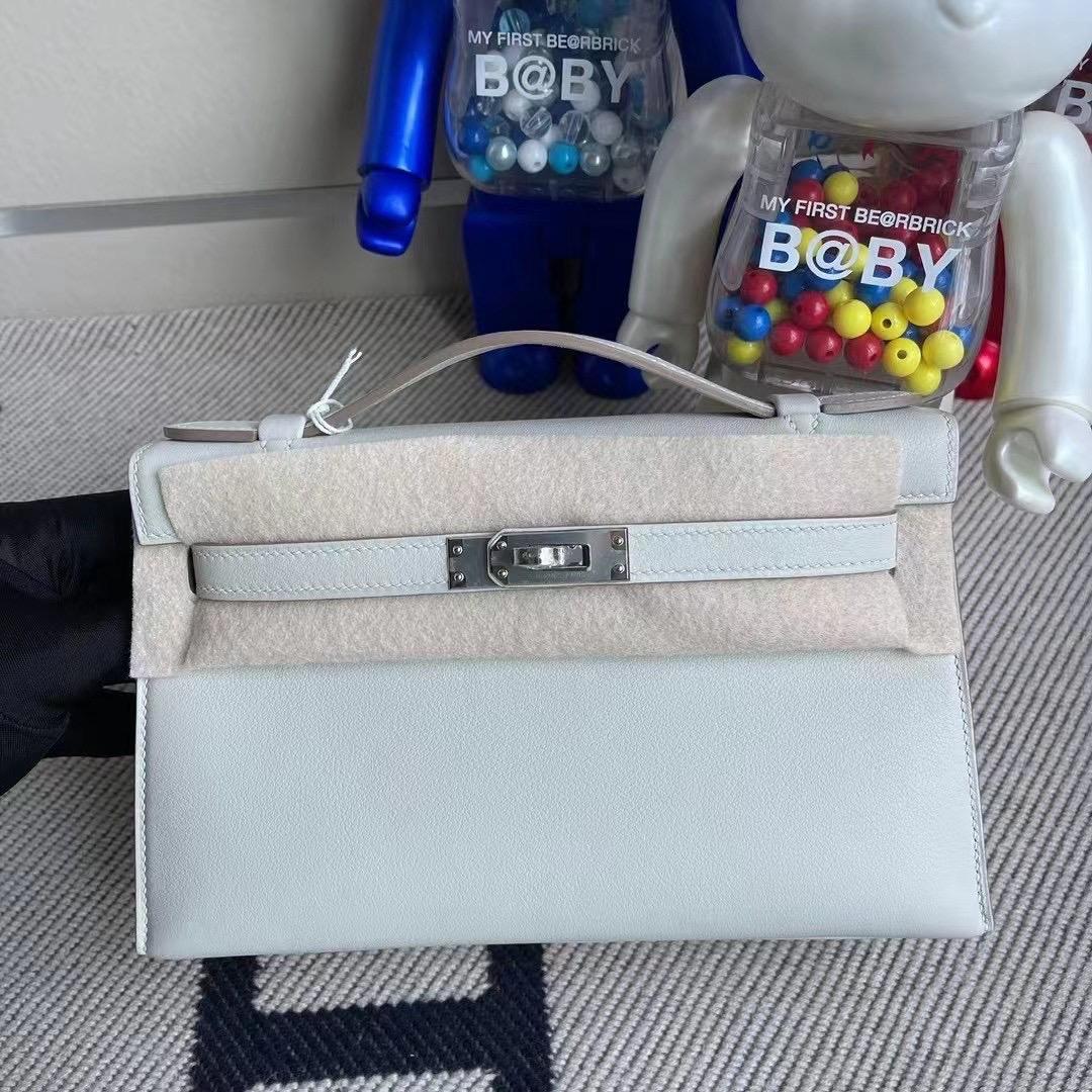 Aomen Hermes MiniKelly Pochette Swift 80 Gris Perle 珍珠灰 全手工臘線縫製