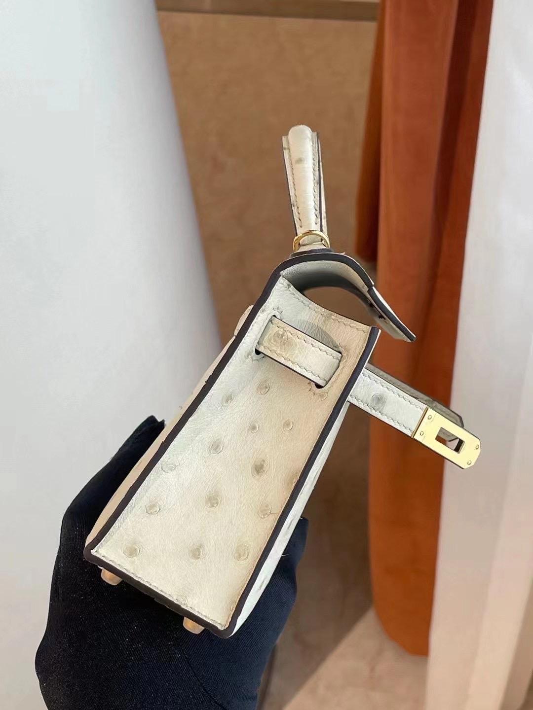愛馬仕迷你凱莉包價格 Hermes Kelly Mini II Ostrich 3C Parchemin 羊毛白