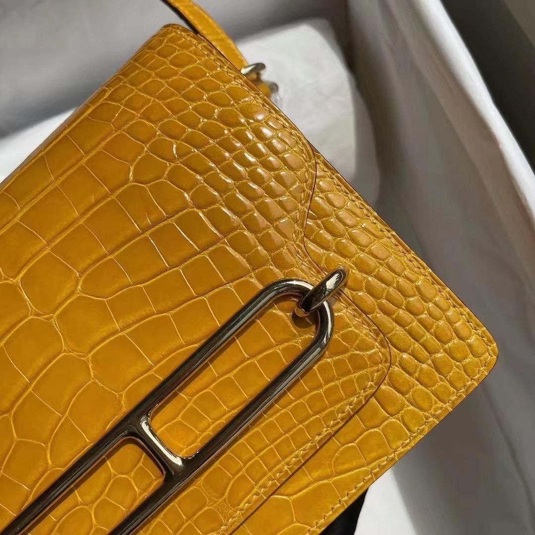 Hermes Roulis Mini 18cm 亮面美洲鱷魚 9D Jaune Amber 琥珀黃 淺金扣