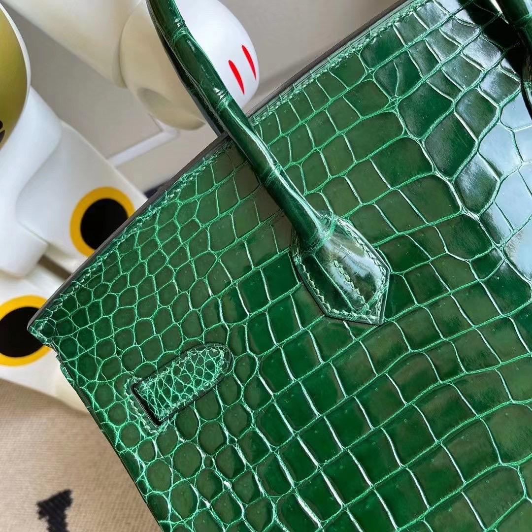 Hermes Birkin 35cm 67 Vert Fonce 祖母綠 亮面 倒V 澳洲灣鱷 金扣