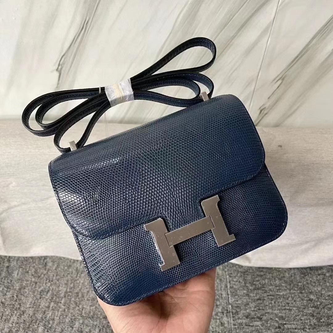 Hermes Constance Mini 73 Bleu Saphir 寶石藍 Lizard 進口蜥蜴皮 銀扣