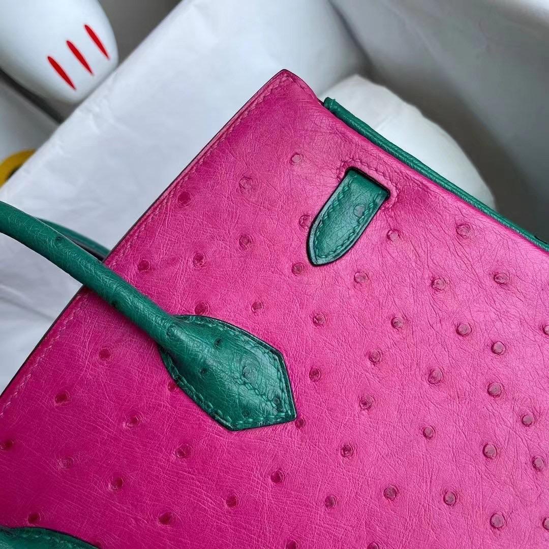 愛馬仕2021年 Z刻 Hermes Birkin 25 Ostrich L3 Rose Poupre U4 Vert Verigo
