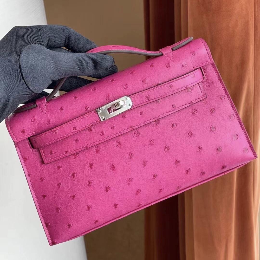 Hermes Kelly Mini pochette Ostrich leather E5 Rose Tyrien 原廠KK 南非鴕鳥皮