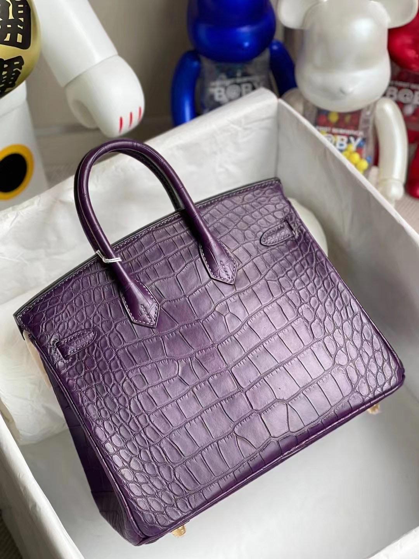 Hong Kong Hermes Birkin 25 霧面方塊美洲鱷魚 59 葡萄紫 Raisin 金扣