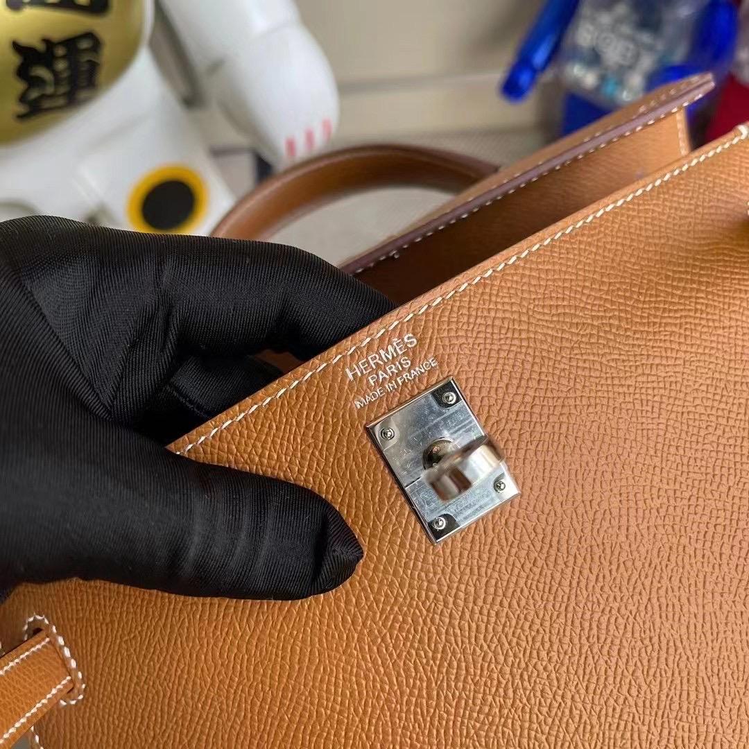 愛馬仕凱莉包哪個顏色經典 Hermes Kelly 25cm CK37 Gold 金棕色 Epsom 銀扣