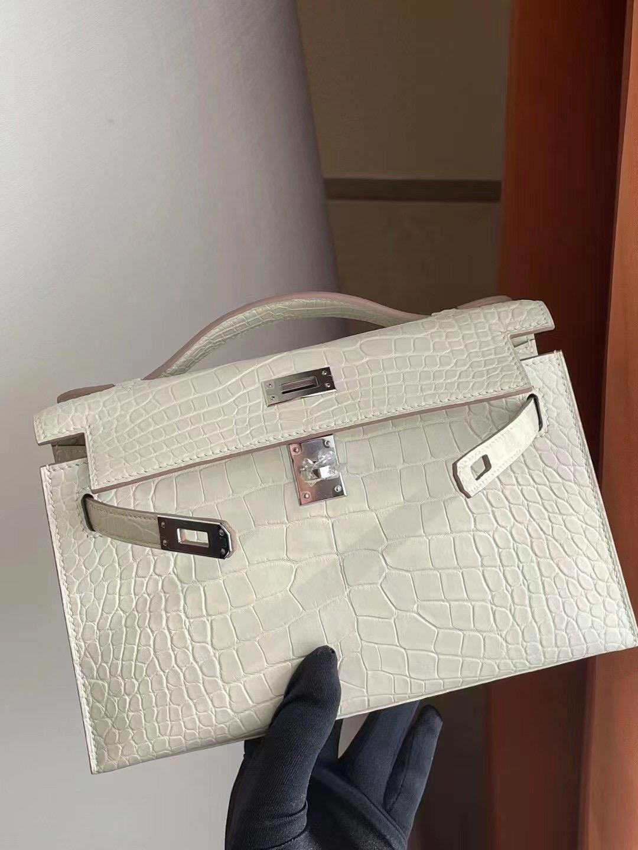 Hong Kong Hermes MiniKelly Pochette Matte Alligator Crocodile 銀扣