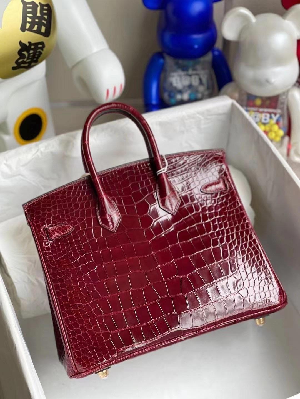 Hong Kong Hermes Birkin 25cm F5 Bourgogne 勃艮第酒紅 alligator crocodile
