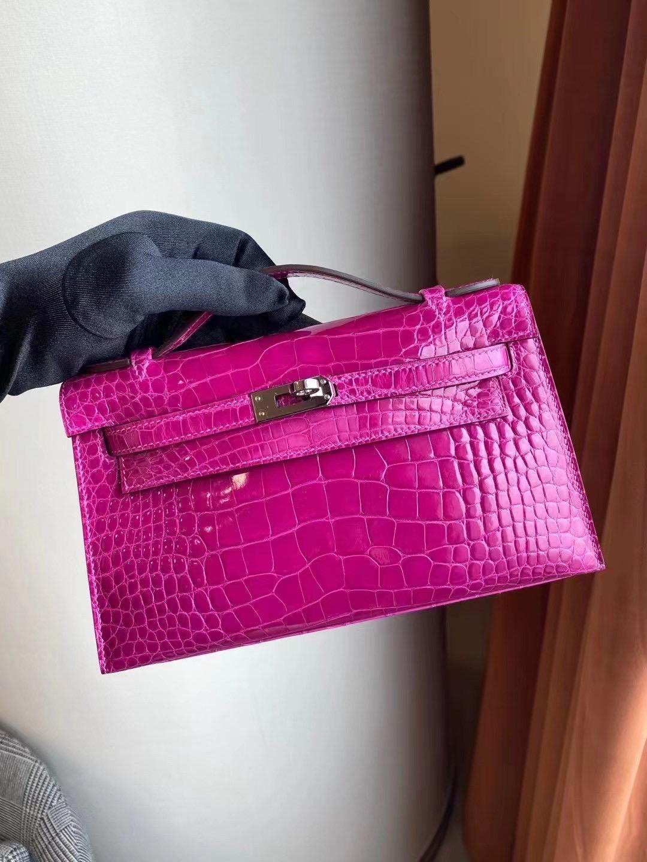 Hong Kong Hermes MiniKelly Pochette J5 天方夜譚粉紫 Rose Sheheraradez 美洲鱷