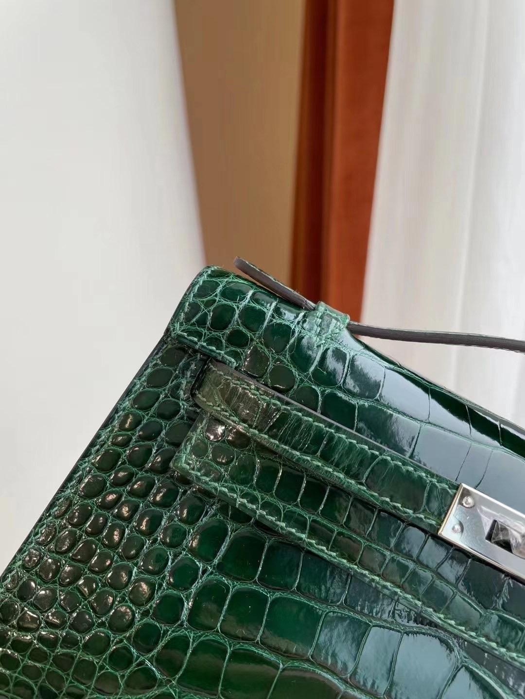 Hong Kong Hermes MiniKelly Pochette 67 Vert Fonce 祖母綠 亮面方塊美洲鱷