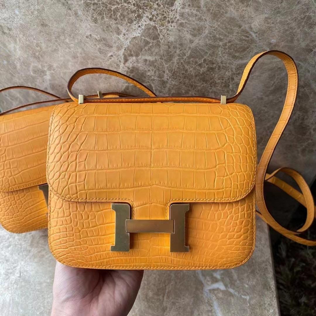 Hong Kong Hermes Constance 19 美洲鱷 I9 Abricot 杏黃色 金扣