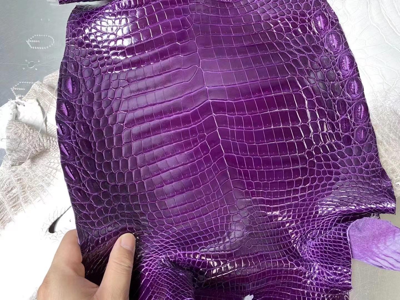 Hermes 亮面尼羅鱷魚 5L ultraviolet 極度紫 Birkin 25cm Kelly 25cm 接受訂製