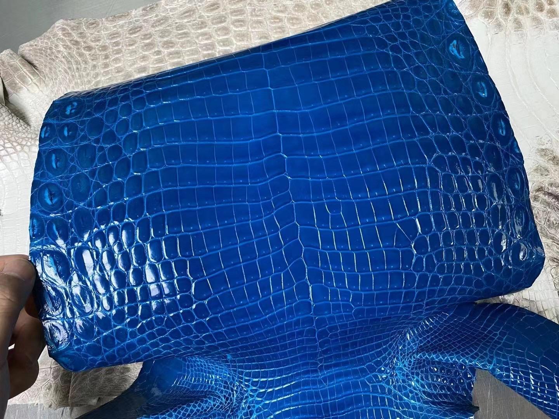 Hermes 亮面尼羅鱷魚 Shiny Nilo Crocodile 7Q Blue Mykonos 希臘藍