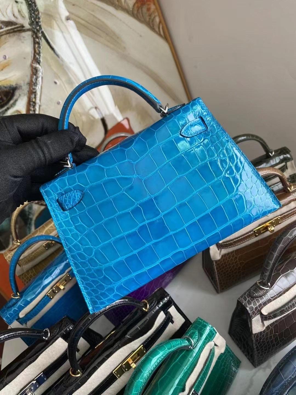 Hermes Kelly Mini Ⅱ 美洲鱷魚 7W Blue Izmir 伊茲密爾藍 5L ultraviolet 極度紫