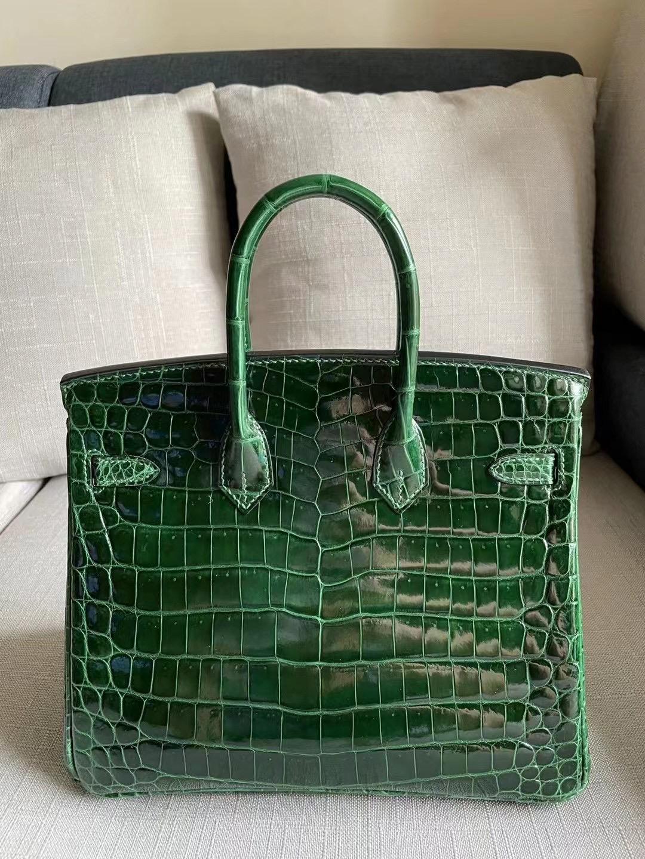 Hermes Birkin 25cm 亮面尼羅鱷魚 67 祖母綠 Vert Fonce 全手工縫製 金扣