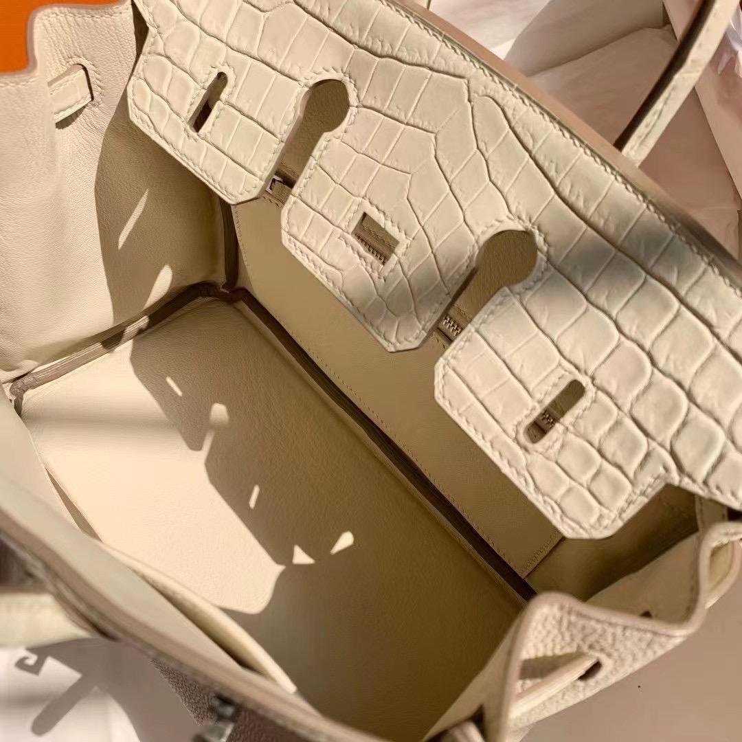 Hermes Birkin 25cm Touch Togo 10 Craie 奶昔白尼羅鱷魚 8L Beton 奶油白