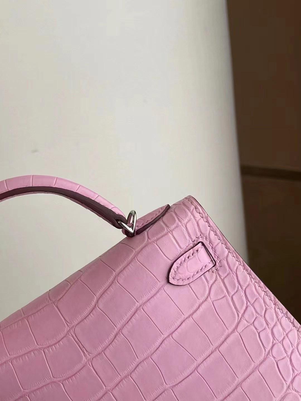 Hermes Mini Kelly II 2代 5P pink 櫻花粉 霧面方塊 美洲鱷 銀扣