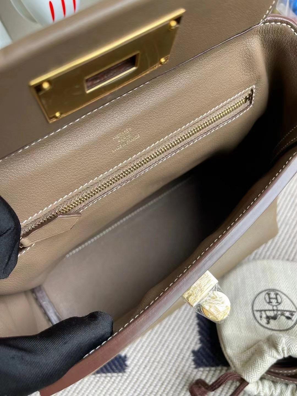 Hermes Kelly Mini 24/24 21cm Evercolor D0威馬犬米色/CK18大象灰