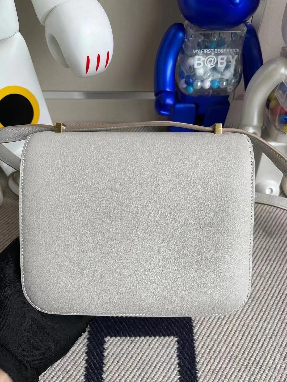 Hermes Constance 19 Evercolor 80 grey pearl 珍珠灰 拼 W0 Vert Bosphore 金扣