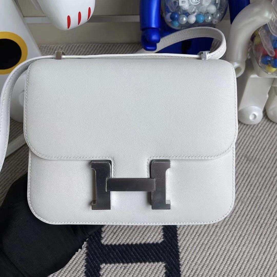 Singapore Hermes Constance 19 Swift 01 Pure white 純白色 銀扣