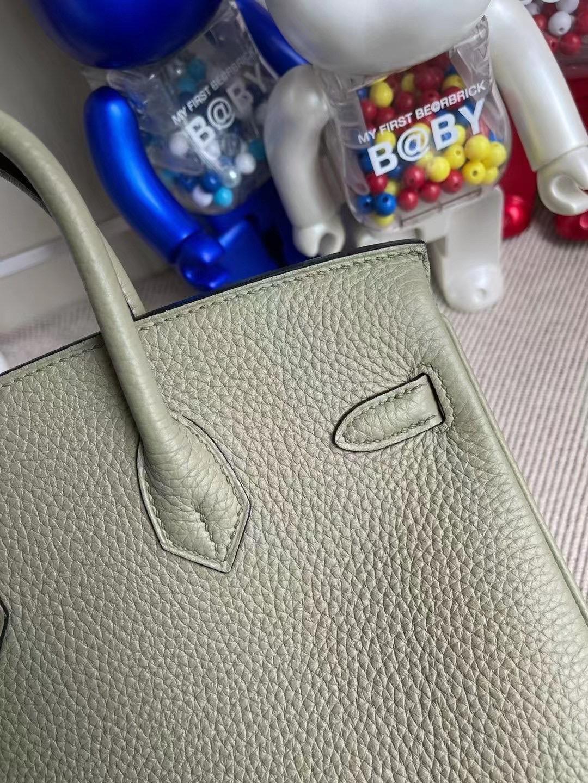 Hong Kong Hermes Birkin 25cm Q1 Sauge 鼠尾草綠 全手工蜜蠟線縫製 銀扣