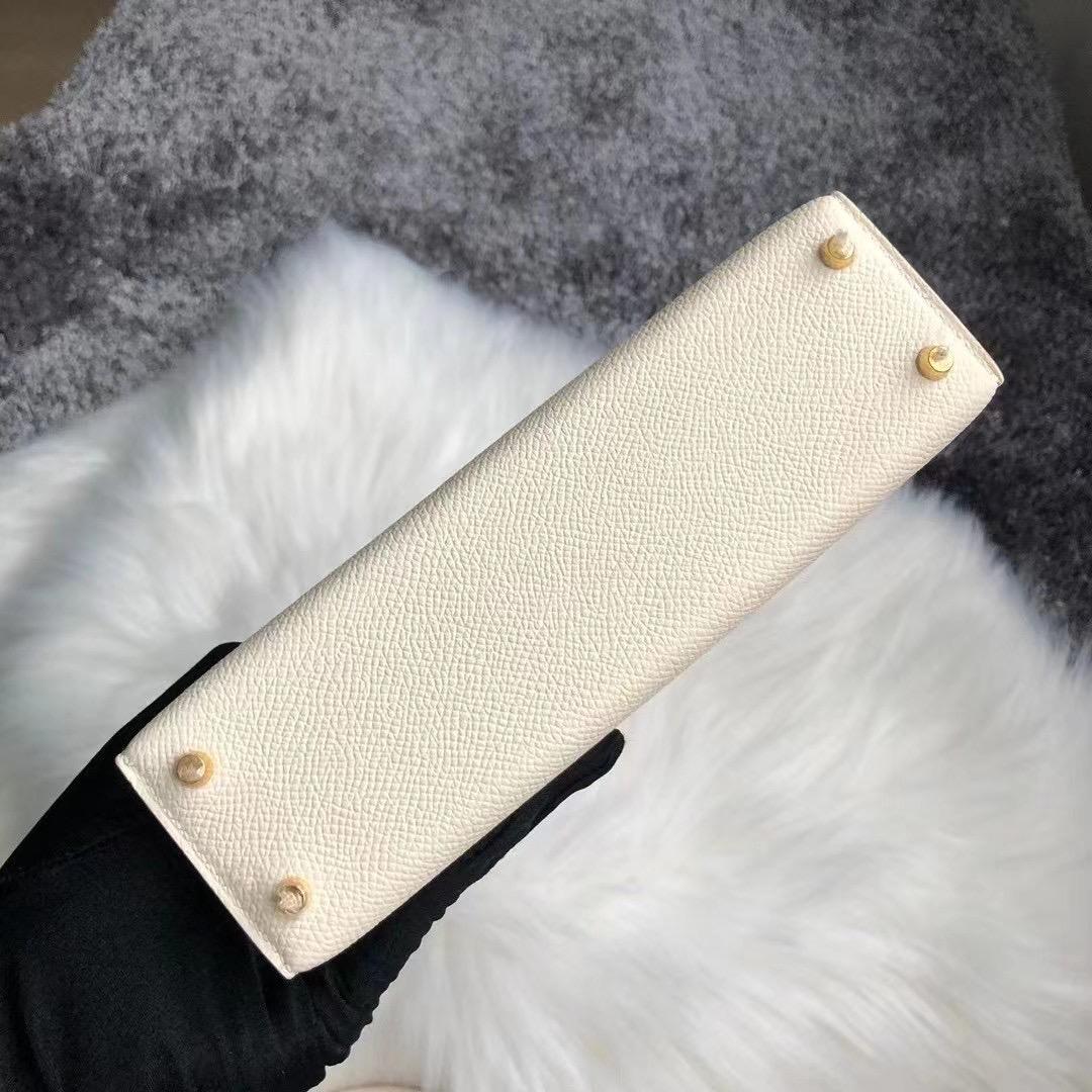 Hong Kong Hermes Kelly Mini Ⅱ Epsom i2 奶油白 nate 金扣