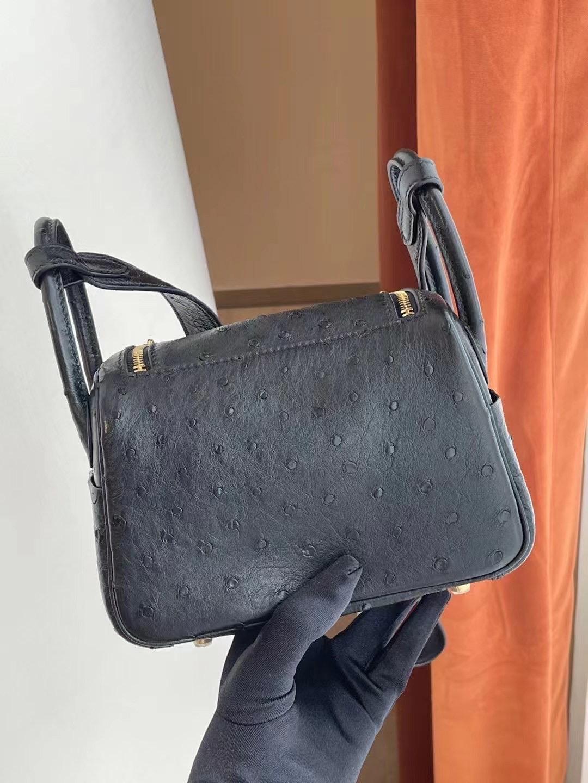 Taiwan Hermes Mini lindy Ostrich 南非KK鴕鳥皮 89 Noir 黑色 銀扣 客定出
