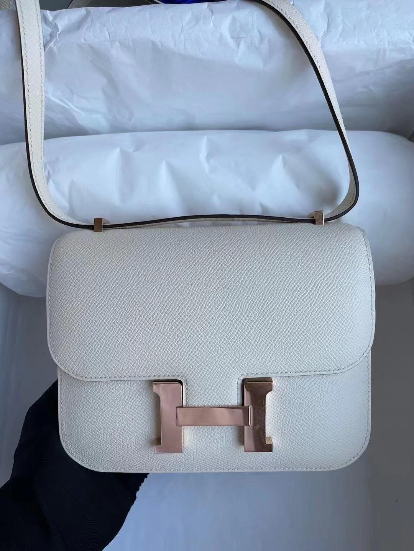 Singapore Hermes Constance 19cm Epsom i2 nata 奶油白 金扣