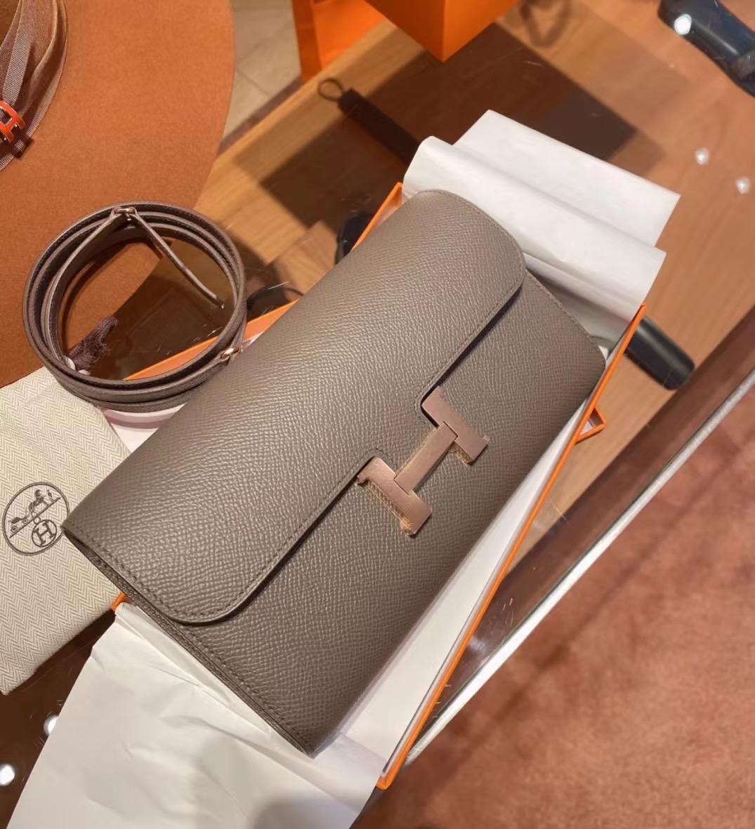 Hermes Constance long wallet to go Epsom CD8F Etain 錫器灰 玫瑰金扣