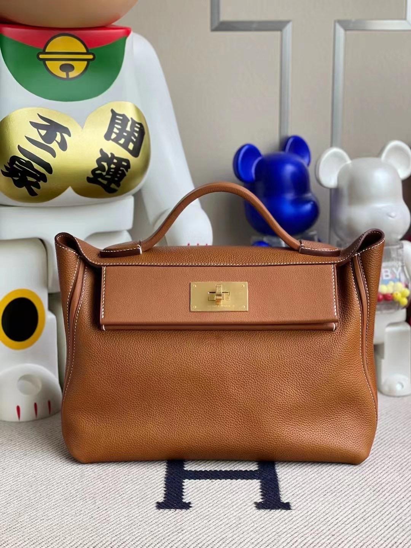Taiwan Hermes Kelly 24/24 Barenia Foubourg 馬鞍皮 拼 Swift 37 Gold 金棕色