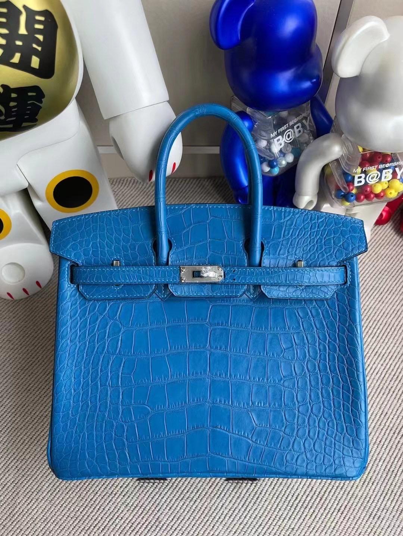 Singapore Hermes Birkin 25 美洲鱷魚 7Q Blue Mykonos 希臘藍 銀扣