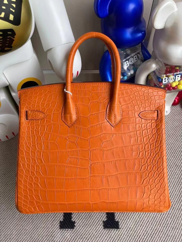 Singapore Hermes Birkin 25cm 霧面美洲鱷魚 8V Orange Poppy 罌粟橘 金扣
