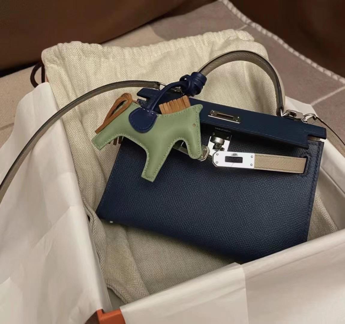 Malaysia Hermes Kelly Mini Ⅱ Epsom S4 Deep Blue 深邃藍 S2 Trench 風衣灰